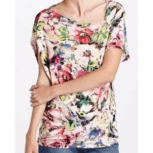 Deletta Quoin Floral Ribbed Top